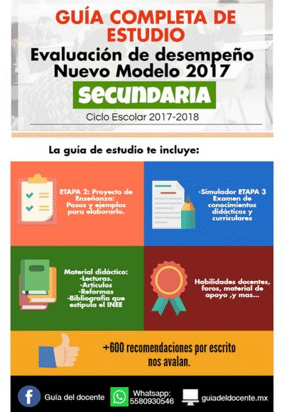 Examen de permanencia secundaria 2017 gu a del docente for Examen para plazas docentes 2017